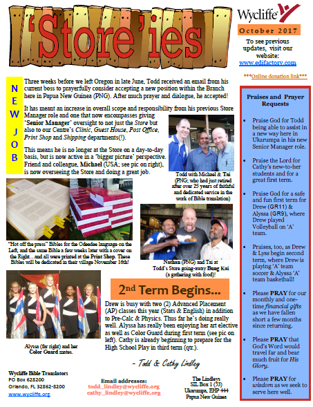 October 2017 newsletter screen shot